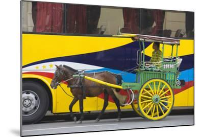 Horse Cart Walk by Colorfully Painted Bus, Manila, Philippines-Keren Su-Mounted Photographic Print