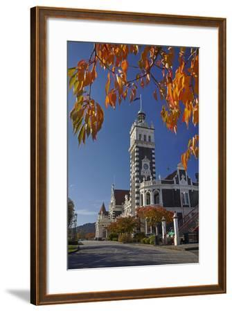 Autumn and Historic Train Station, Dunedin, Otago, South Island, New Zealand-David Wall-Framed Photographic Print