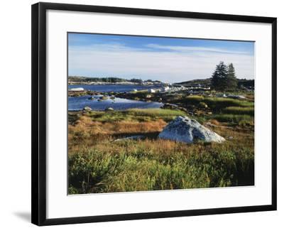 View of Sea with Coastline, Nova Scotia, Canada-Greg Probst-Framed Photographic Print