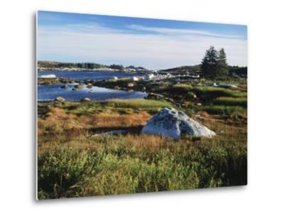 View of Sea with Coastline, Nova Scotia, Canada-Greg Probst-Metal Print