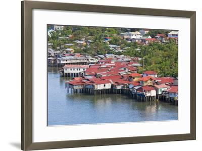 Aerial View of Houses on Stilts Along the Waterfront, Cebu City, Philippines-Keren Su-Framed Photographic Print