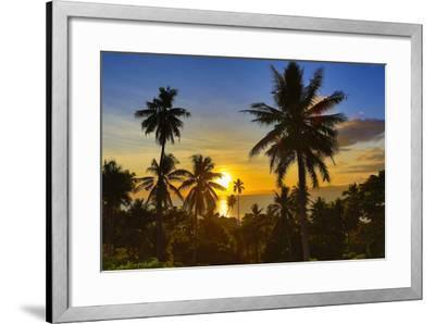 Sunset, Taveuni, Vanua Levu in Background, Fiji-Douglas Peebles-Framed Photographic Print