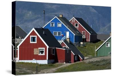 The Colorful Cottages of the Town Narsaq, Greenland-David Noyes-Stretched Canvas Print