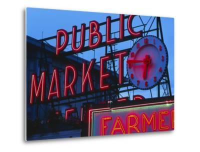 View of Public Market Neon Sign and Pike Place Market, Seattle, Washington, USA-Walter Bibikow-Metal Print