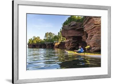 Kayaker in Sea Caves, Devils Island, Apostle Islands National Lakeshore, Wisconsin, USA-Chuck Haney-Framed Photographic Print