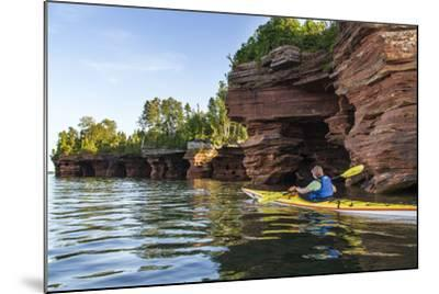 Kayaker in Sea Caves, Devils Island, Apostle Islands National Lakeshore, Wisconsin, USA-Chuck Haney-Mounted Photographic Print