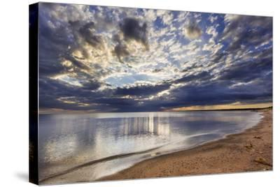 Sun Breaks Cloudy Morning, Superior Point, Lake Superior, Wisconsin, USA-Chuck Haney-Stretched Canvas Print