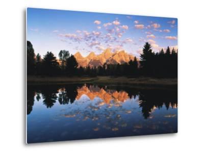 Teton Range Reflecting in Beaver Pond, Grand Teton National Park, Wyoming, USA-Adam Jones-Metal Print