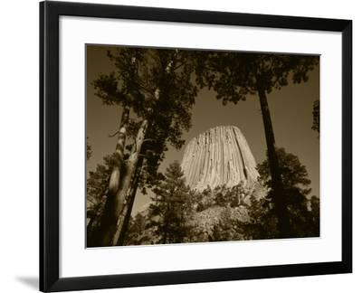Devil's Tower National Monument at Dusk, Hulett, Wyoming, USA-Walter Bibikow-Framed Photographic Print