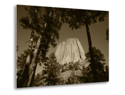 Devil's Tower National Monument at Dusk, Hulett, Wyoming, USA-Walter Bibikow-Metal Print