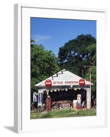 Old Gas Station at Roadside, Waco, Texas, USA-Walter Bibikow-Framed Photographic Print