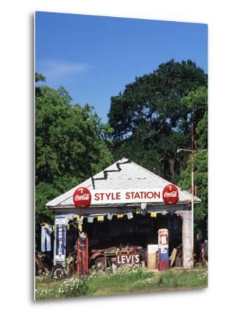 Old Gas Station at Roadside, Waco, Texas, USA-Walter Bibikow-Metal Print