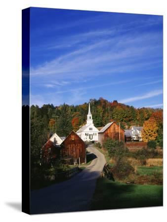 Waits River, View of Church and Barn in Autumn, Northeast Kingdom, Vermont, USA-Walter Bibikow-Stretched Canvas Print