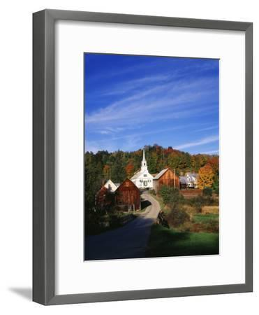 Waits River, View of Church and Barn in Autumn, Northeast Kingdom, Vermont, USA-Walter Bibikow-Framed Photographic Print