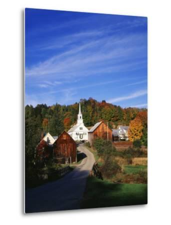 Waits River, View of Church and Barn in Autumn, Northeast Kingdom, Vermont, USA-Walter Bibikow-Metal Print