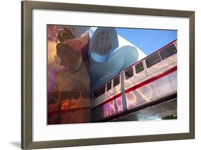 Monorail and Experience Music Project, Science Fiction Museum, Seattle, Washington, USA-John & Lisa Merrill-Framed Photographic Print