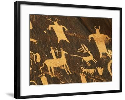Petroglyphs, Newspaper Rock State Historic Monument, Canyonlands National Park, Utah, USA-David Barnes-Framed Premium Photographic Print