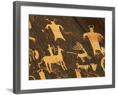 Petroglyphs, Newspaper Rock State Historic Monument, Canyonlands National Park, Utah, USA-David Barnes-Framed Photographic Print