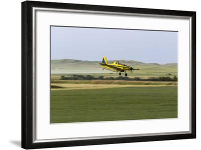 Crop Duster Airplane Spraying Farm Field Near Mott, North Dakota, USA-Chuck Haney-Framed Photographic Print