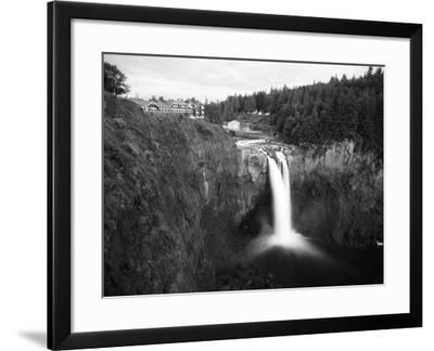 Salish Lodge and English Daisies, Snoqualmie Falls, Washington, USA-Charles Crust-Framed Photographic Print
