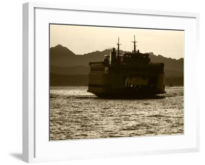 Ferry Boat at Sunset, Washington, USA-David Barnes-Framed Photographic Print