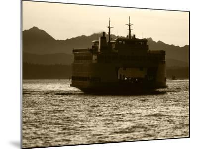 Ferry Boat at Sunset, Washington, USA-David Barnes-Mounted Photographic Print