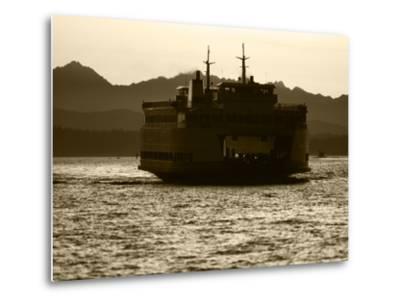 Ferry Boat at Sunset, Washington, USA-David Barnes-Metal Print