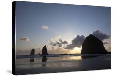 Haystack Rock at Sunset, Cannon Beach, Oregon, USA-Jamie & Judy Wild-Stretched Canvas Print