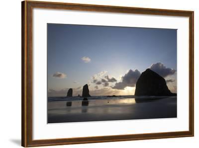 Haystack Rock at Sunset, Cannon Beach, Oregon, USA-Jamie & Judy Wild-Framed Photographic Print