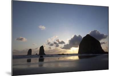 Haystack Rock at Sunset, Cannon Beach, Oregon, USA-Jamie & Judy Wild-Mounted Photographic Print