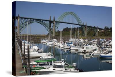 Marina with Pleasure Boats and Yaquina Bay Bridge, Newport, Oregon, USA-Jamie & Judy Wild-Stretched Canvas Print