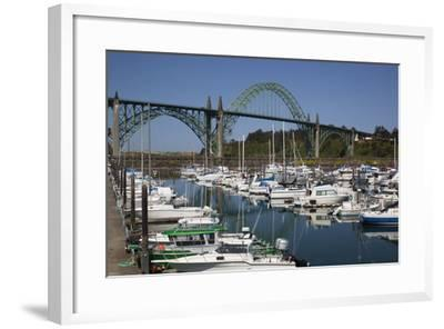 Marina with Pleasure Boats and Yaquina Bay Bridge, Newport, Oregon, USA-Jamie & Judy Wild-Framed Photographic Print