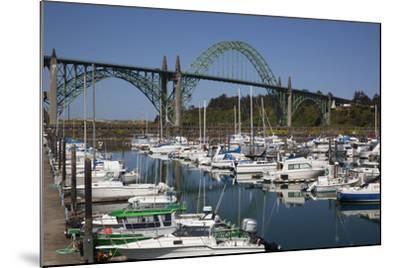 Marina with Pleasure Boats and Yaquina Bay Bridge, Newport, Oregon, USA-Jamie & Judy Wild-Mounted Photographic Print