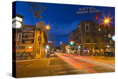 San Francisco Street at Dusk in Historic Downtown Flagstaff, Arizona, USA-Chuck Haney-Stretched Canvas Print
