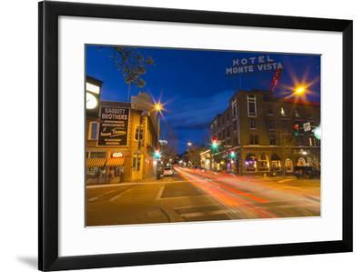 San Francisco Street at Dusk in Historic Downtown Flagstaff, Arizona, USA-Chuck Haney-Framed Photographic Print