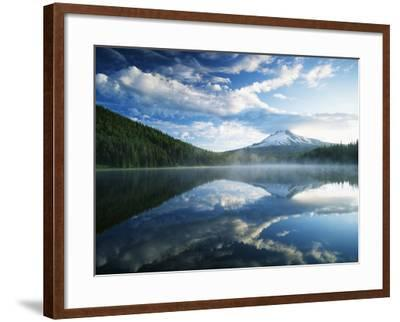 Trillium Lake, Mt Hood National Forest, Mt Hood Wilderness Area, Oregon, USA-Adam Jones-Framed Photographic Print