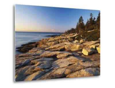 Mt Desert Island, View of Rocks with Forest, Acadia National Park, Maine, USA-Adam Jones-Metal Print