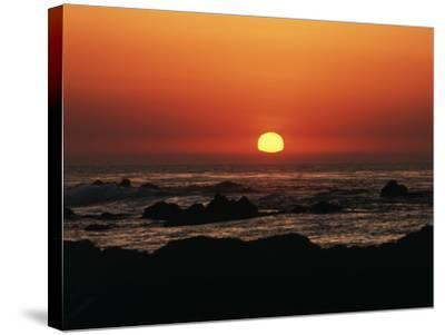 View of Beach at Sunset, Pacific Grove, Monterey Peninsula, California, USA-Stuart Westmorland-Stretched Canvas Print
