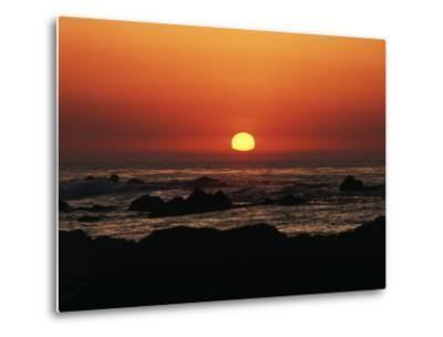 View of Beach at Sunset, Pacific Grove, Monterey Peninsula, California, USA-Stuart Westmorland-Metal Print