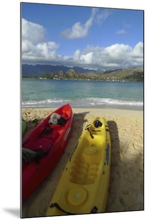 Kayak, Mokulua Island, Lanikai, Kailua, Oahu, Hawaii, USA-Douglas Peebles-Mounted Photographic Print