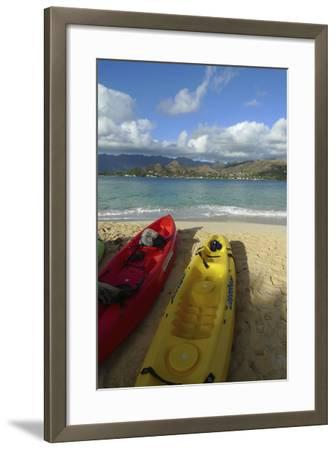 Kayak, Mokulua Island, Lanikai, Kailua, Oahu, Hawaii, USA-Douglas Peebles-Framed Photographic Print
