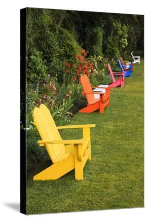 Garden Bench, Schreiner's Iris Gardens, Keizer, Oregon, USA-Rick A^ Brown-Stretched Canvas Print