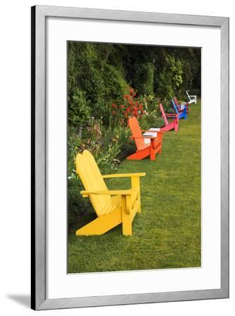 Garden Bench, Schreiner's Iris Gardens, Keizer, Oregon, USA-Rick A^ Brown-Framed Photographic Print