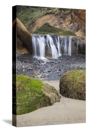 Waterfall and Rocks, at Hug Point, Oregon, USA-Jamie & Judy Wild-Stretched Canvas Print