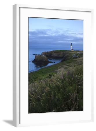 Historic Yaquina Head Lighthouse, Newport, Oregon, USA-Rick A^ Brown-Framed Photographic Print