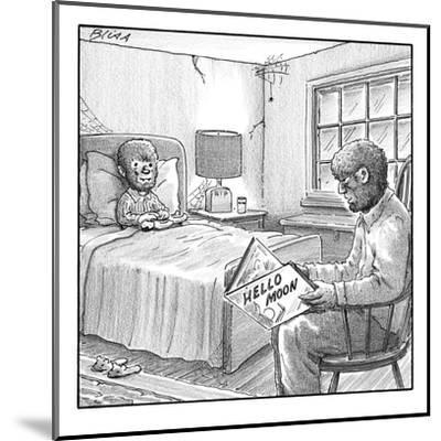 "A werewolf father is reading his werewolf son ""Hello Moon""  - New Yorker Cartoon-Harry Bliss-Mounted Premium Giclee Print"