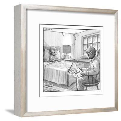 "A werewolf father is reading his werewolf son ""Hello Moon""  - New Yorker Cartoon-Harry Bliss-Framed Premium Giclee Print"