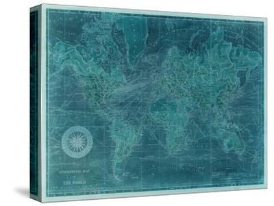 Azure World Map-Vision Studio-Stretched Canvas Print