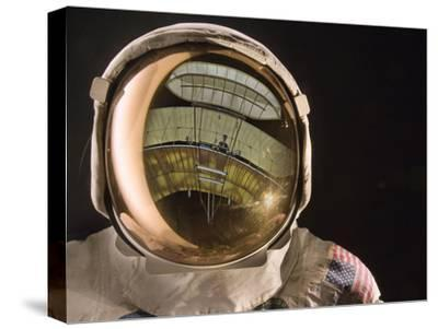 Air and Space: Apollo Helmet Visor reflecting the 1903 Wright Flyer--Stretched Canvas Print
