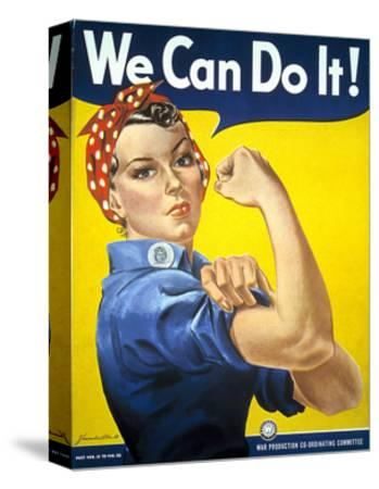 Military and War Posters: We Can Do It! J Howard Miller, 1942--Stretched Canvas Print